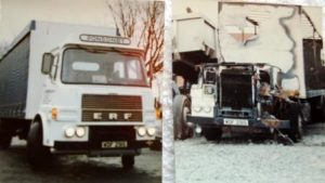 1982 Denis Ponsonby ERF before and after fire in 1982